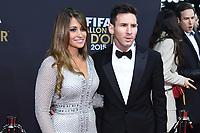 Zurich (Svizzera) 11/01/2016 - Fifa Ballon d'Or 2015 Pallone d'Oro / foto Matteo Gribaudi/Image Sport/Insidefoto<br /> nella foto: Lionel Messi-Antonella Roccuzzo