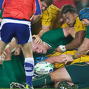 Paul O'Connell, Ireland (centre) challenges for the ball during the Australia V Ireland Pool C match during the IRB Rugby World Cup tournament. Eden Park, Auckland, New Zealand, 17th September 2011. Photo Tim Clayton...
