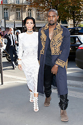 File photo dated September 25, 2014 of Kim Kardashian and husband Kanye West are seen at L'Avenue restaurant where they had lunch with Kris Jenner and Kendall Jenner during the Paris Fashion Week, in Paris, France. US rapper Kanye West took to Twitter over the weekend to announce he was running for president, with his declaration quickly going viral and prompting a flurry of speculation. His wife Kim Kardashian West and entrepreneur Elon Musk endorsed him. Photo by ABACAPRESS.COM