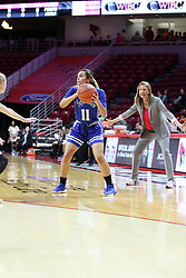 NORMAL, IL - February 10: Krystal Rice looks to make a pass with Kristen Gillespie in the background during a college women's basketball Play4Kay game between the ISU Redbirds and the Indiana State Sycamores on February 10 2019 at Redbird Arena in Normal, IL. (Photo by Alan Look)