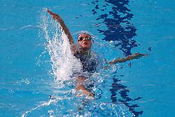 Fran Halsall of Loughbrough University competes in the Womens 100m Backstroke Heats - Photo mandatory by-line: Rogan Thomson/JMP - 07966 386802 - 16/04/2015 - SPORT - SWIMMING - The London Aquatics Centre, England - Day 3 - British Swimming Championships 2015.
