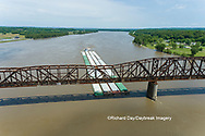 63807-01119 Barge on the Mississippi river crossing under the Thebes bridge Thebes, IL