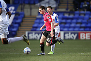 Oldham Athlteic's Danny Philliskirk gets away from Tranmere Rovers' Jason Koumas. Skybet football league 1match, Tranmere Rovers v Oldham Athletic at Prenton Park in Birkenhead, England on Saturday 1st March 2014.<br /> pic by Chris Stading, Andrew Orchard sports photography.