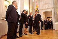 07 JAN 2004, BERLIN/GERMANY:<br /> Otto Schily, SPD, Bundesinnenminister, Joschka fischer, B90/Gruene, Bundesaussenminister, Gerhard Schroeder, SPD, Bundeskanzler, Christina Rau , Johannes Rau, Bundespraesident, und Wolfgang Clement, SPD, Bundeswirtschaftsminister, (v.L.n.R.), waehrend des Deefiles, Neujahrsempfang des Bundespraaesidenten, Schloss Bellevue<br /> IMAGE: 20040107-01-034<br /> KEYWORDS: Empfang, Neujahr, Bundespräsident, Gattin, Praesidentengattin, Präsidentengattin, Gerhard Schröder