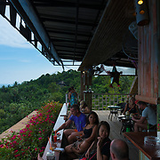People drink in Samui island observation deck, Thailand