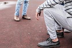 24.05.2015, Polizeidirektion, Salzburg, AUT, Zeltstadt fuer Fluechtlinge in Salzburg, im Bild Teilansicht von Flüchtlingen // detail view of refugees in the tent city at the sports ground of the Police Directorate, Salzburg, Austria on 2015/05/24. EXPA Pictures © 2015, PhotoCredit: EXPA/ JFK