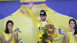July 8, 2018 - La Roche-Sur-Yon, FRANCE - Slovak Peter Sagan of Bora-Hansgrohe celebrates on the podium in the yellow jersey of leader in the overall ranking after the second stage of the 105th edition of the Tour de France cycling race, 182,5km from Mouilleron-Saint-Germain to La Roche-sur-Yon, France, Sunday 08 July 2018. This year's Tour de France takes place from July 7th to July 29th. BELGA PHOTO YORICK JANSENS (Credit Image: © Yorick Jansens/Belga via ZUMA Press)