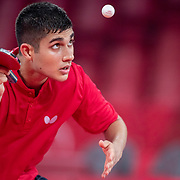 TOKYO, JAPAN - JULY 21: Kanak Jha of the United States practicing at The Tokyo Metropolitan Gymnasium in preparation for the table tennis tournament at the Tokyo 2020 Olympic Games on July 21, 2021 in Tokyo, Japan. (Photo by Tim Clayton/Corbis via Getty Images)