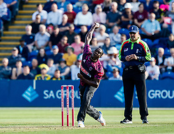 Jerome Taylor of Somerset in action today <br /> <br /> Photographer Simon King/Replay Images<br /> <br /> Vitality Blast T20 - Round 1 - Glamorgan v Somerset - Thursday 18th July 2019 - Sophia Gardens - Cardiff<br /> <br /> World Copyright © Replay Images . All rights reserved. info@replayimages.co.uk - http://replayimages.co.uk