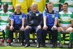 Yeovil Town's Nathan Smith, Coaches Darren Way and Terry Skiverton, Manager Paul Sturrock and Captain Ryan Dickson - Photo mandatory by-line: Harry Trump/JMP - Mobile: 07966 386802 - 06/08/15 - SPORT - FOOTBALL - Yeovil Town Press Day - Huish Park, Yeovil, England.
