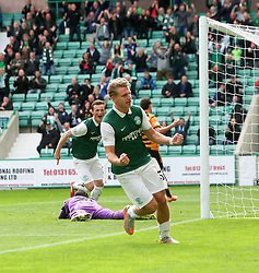 Hibernian's Jason Cummings cele scoring their second goal. <br /> Hibernian 3 v 0 Alloa Athletic, Scottish Championship game played 12/9/2015 at Easter Road.