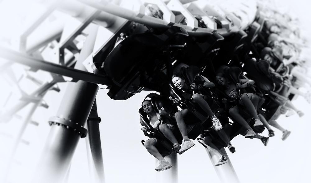 Italy - Gardaland -  Happy girl on rollercoaster