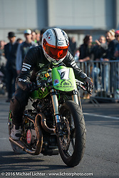 Sultans of Sprint races at the Intermot Motorcycle Trade Fair. Cologne, Germany. Sunday October 9, 2016. Photography ©2016 Michael Lichter.