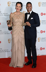 Cuba Gooding Jr. presents Phoebe Waller-Bridge with the award for Best Female Performance in a Comedy Programme in the winners photo area at the Virgin British Academy Television Awards (BAFTA) held at the Royal Festival Hall, Southbank, London. Photo credit should read: Doug Peters/ EMPICS Entertainment