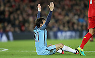 David Silva of Manchester City appeals for a penalty during the English Premier League match at Anfield Stadium, Liverpool. Picture date: December 31st, 2016. Photo credit should read: Lynne Cameron/Sportimage
