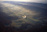 Pennsylvania, aerial photograph, morning valley farm, fog, Perry Co.