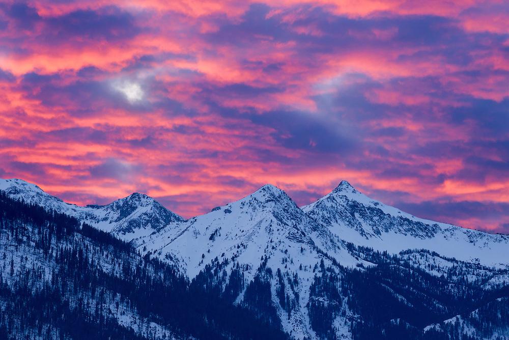 Winter sunset over Oregon's Wallowa Mountains.