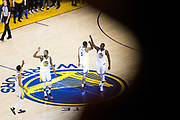 The Golden State Warriors celebrate a three pointer against the Cleveland Cavaliers during Game 1 of the NBA Finals at Oracle Arena in Oakland, Calif., on May 31, 2018. (Stan Olszewski/Special to S.F. Examiner)