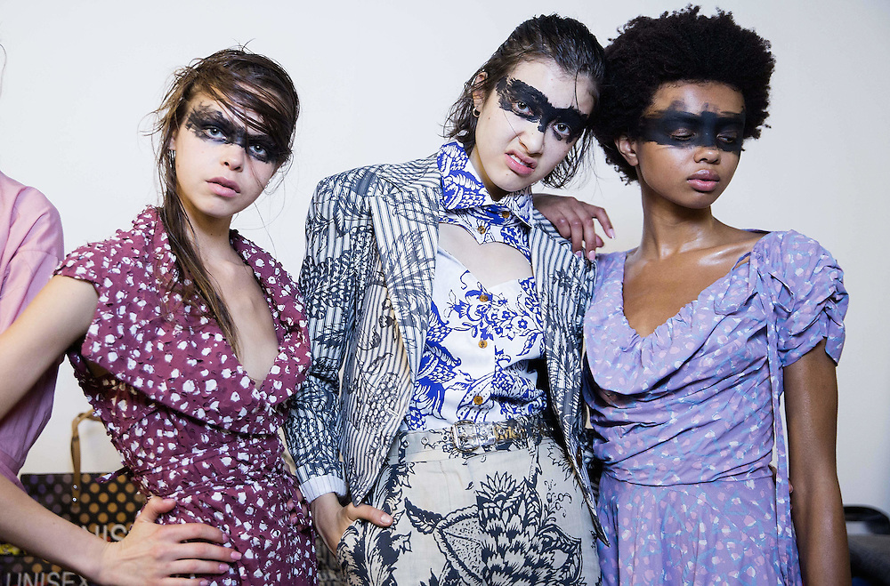 Models backstage at the Vivienne Westwood Red Label show during London Fashion Week SS16 at Ambika P3 on September 20, 2015 in London, England.<br /> <br /> Photos Ki Price