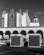 Shipping containers at St. Augustine cathedral during reconstruction