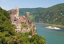 Burg Rheinstein castle above river Rhine in Germany