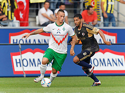 23.08.2011, Osnatel Arena, Osnabrueck, GER, FSP, Werder Bremen (GER) vs Fenerbahce Istanbul /TUR) im Bild Marko Arnautovic (Werder Bremen AUS #7), rechts ist André Santos (Istanbul #27) // during friendly match Werder Bremen (GER) vs Fenerbahce Istanbul (TUR)  on 2011/08/23, Osnatel Arena,  Osnabrueck   EXPA Pictures © 2011, PhotoCredit: EXPA/ nph/  Scholz       ****** out of GER / CRO  / BEL ******