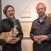 Martin Creed (L) Adrian Jackson (R) attend the Art On The Mind - Private view of an exhibition and auction which benefits homeless charity, Cardboard Citizens.