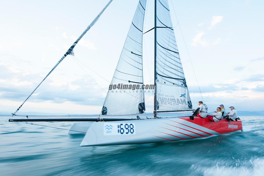 Geneva June 15th 2013 Regatta Bol d' Or, Marwin Sailing Team racing with a GC32 Carbon Catamaran