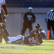 Wide receiver Grant Wallace, Yale, drops a pass from Quarterback Morgan Roberts in the end zone during the Yale Vs Princeton, Ivy League College Football match at Yale Bowl, New Haven, Connecticut, USA. 15th November 2014. Photo Tim Clayton