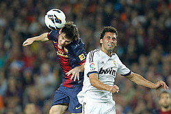 07-10-2012 VOETBAL: BARCELONA - REAL MADRID: BARCELONA<br />  Lionel Messi and Real Madrids Alvaro Arbeloa // during during the Spanish Primera Division 7th round match between Barcelona FC and Real Madrid CF at Camp Nou, Barcelona<br /> ***NETHERLANDS ONLY***<br /> ©2012-FotoHoogendoorn.nl-Cesar Cebolla