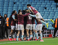 Football - 2019 / 2020 EFL Carabao (League) Cup - Semi-Final, Second Leg: Aston Villa (1) vs. Leicester City (1)<br /> <br /> Mahmoud Trezeguet of Villa celebrates with team mates after scoring the late winner in injury time, at Villa Park.<br /> <br /> COLORSPORT/ANDREW COWIE
