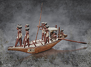 Ancient Egyptian wooden model boat from tomb of Shemes,  Middle Kingdom (1980-1700 BC), Asyut. Egyptian Museum, Turin.  <br /> <br /> In 1908 in Asyut, Egypt an intact tomb was discovered of an official named Shemes, it contained many rich grave goods. Two rectangular Coffins, one for Shemes and the other for a woman called Rehuerausen, possibly his wife. They carry typical Middle Kingdom decorations,