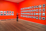 Works by Eikoh Hosoe (on red wall) - Tate Modern's new photography show, Performing for the Camera. The exhibition examines the relationship between photography and performance, from the invention of photography in the 19th century to the selfie culture of today, bringing together over 500 images spanning 150 years. Highlights include: artist Romain Mader and his series Ekaterina, which follows Romain's fictitious search for a bride in Eastern Europe; Amalia Ulman's social media sensation Excellences and Perfections performed over a four month period on Instagram; and a wall of artist-designed advertising posters by the likes of Jeff Koons, Andy Warhol and Joseph Beuys. Performing for the Camera is at Tate Modern from 18 February – 12 June 2016.