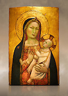 Gothic altarpiece of Madonna and Child by Bernardo Daddi, circa 1340-1345, tempera and gold leaf on wood.  National Museum of Catalan Art, Barcelona, Spain, inv no: MNAC  212806. Against a art background. . .<br /> <br /> If you prefer you can also buy from our ALAMY PHOTO LIBRARY  Collection visit : https://www.alamy.com/portfolio/paul-williams-funkystock/gothic-art-antiquities.html  Type -     MANAC    - into the LOWER SEARCH WITHIN GALLERY box. Refine search by adding background colour, place, museum etc<br /> <br /> Visit our MEDIEVAL GOTHIC ART PHOTO COLLECTIONS for more   photos  to download or buy as prints https://funkystock.photoshelter.com/gallery-collection/Medieval-Gothic-Art-Antiquities-Historic-Sites-Pictures-Images-of/C0000gZ8POl_DCqE