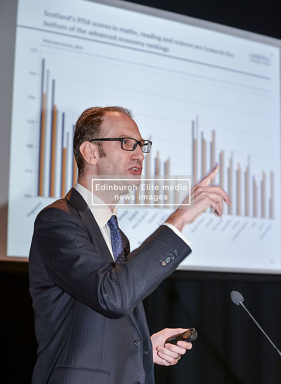 Pictured: Report author David Skilling highlights sections of the report to an invited audience of politicians, economists and policy makers.<br /> <br /> A report on the Scottish economy by independent think tank Reform Scotland was launched in Edinburgh.<br /> <br /> © Dave Johnston / EEm