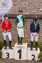 Podium L2-D, Rogiers Merel, Verstappen Noor, Hens Lotte, Corten Britt, Mateos Néna, Van Hoeck Ine<br /> Nationaal Kampioenschap LRV <br /> Ponies Dressuur - Oudenaarde 2020<br />  03/10/2020