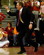 PHOTO BY DAVID RICHARD.Buckeyes' head coach Thad Matta yells to his defense during the first half of Sunday's Big Ten victory over visiting Illinois.
