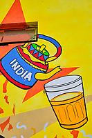 Inde, Delhi, New Delhi, peinture murale d'une maison de thé Connaught place dans le centre ville // India, Delhi, New Delhi, tea shop wall painting in Connaught place
