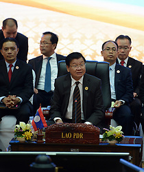 VIENTIANE, Sept. 7, 2016 (Xinhua) -- Lao Prime Minister Thongloun Sisoulith (C) speaks during the 29th Association of Southeast Asian Nations (ASEAN) Summit in Vientiane, Laos, Sept. 7, 2016. (Xinhua/Liu Ailun).****Authorized by ytfs* (Credit Image: © Liu Ailun/Xinhua via ZUMA Wire)