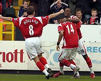 Photo: Olly Greenwood.<br />Charlton Athletic v Manchester City. The Barclays Premiership. 04/11/2006. Charlton's Darren Bent celebrates scoring.