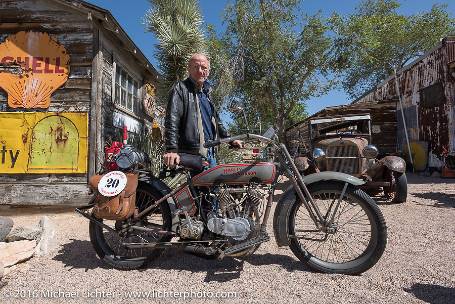 Denis Sharon of Connecticut and his 1916 Harley-Davidson at the Hackberry General Store on historic Route 66 in Kingman, Arizona during the Motorcycle Cannonball Race of the Century. Stage-13 ride from Williams, AZ to Lake Havasu CIty, AZ. USA. Friday September 23, 2016. Photography ©2016 Michael Lichter.