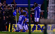 Che Adams of Birmingham celebrates with his team mates after he scores his teams 1st goal to make it 1-0 .EFL Skybet championship match, Birmingham city v Cardiff city at St.Andrew's stadium in Birmingham, the Midlands on Friday 13th October 2017.<br /> pic by Bradley Collyer, Andrew Orchard sports photography.