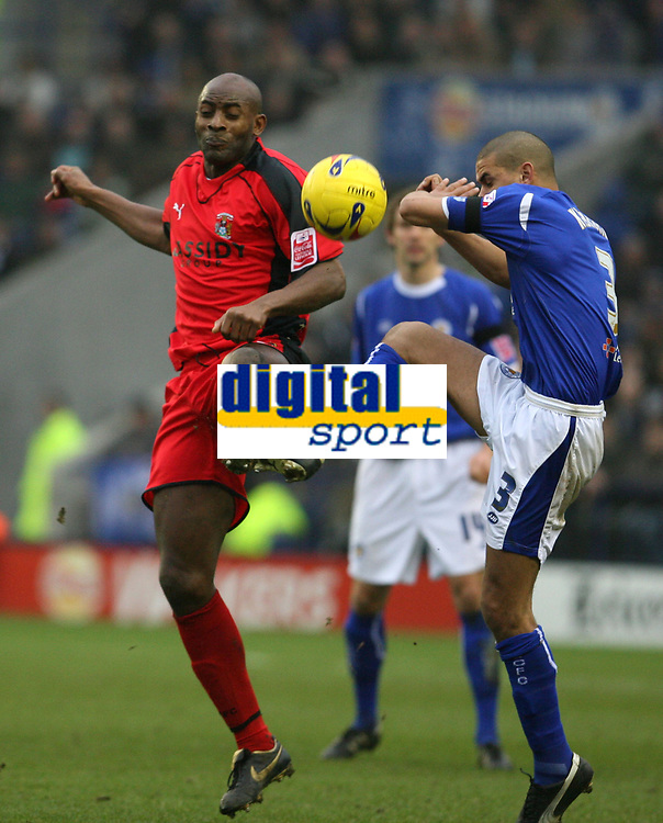 Photo: Pete Lorence.<br />Leicester City v Coventry City. Coca Cola Championship. 17/02/2007.<br />Dele Adebola and Patrick Kisnorbo battle for the ball.