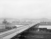 ackroyd-02600-06. December 29, 1950. looking west across Burnside bridge from high elevation building on east side.