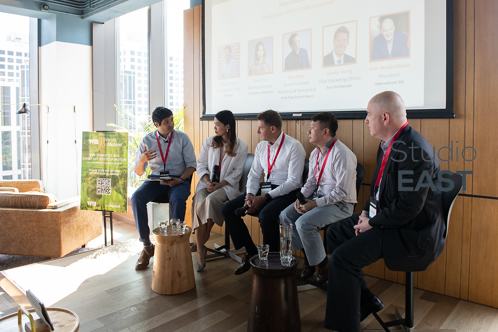Panel discussion with speakers Fiona Tin, Marketing & Communication Director, TimeVallée, Jeremy Young, CMO, Sun Life Financial, Tony Chow, Head of Content Marketing and Partnership, Hong Kong Tourism Board, Alan VanderMolen, President, International WE, and moderator Faaez Samadi, Southeast Asia Editor, Campaign Asia-Pacific, during Brands in Motion Breakfast Briefing in Hong Kong, China, on 21 September 2018. Photo by Lucas Schifres/Studio EAST
