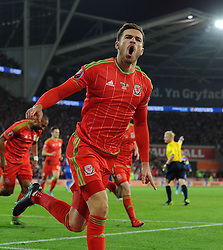 Aaron Ramsey of Wales celebrates his goal which makes it 1-0 - Mandatory byline: Dougie Allward/JMP - 07966 386802 - 13/10/2015 - FOOTBALL - Cardiff City Stadium - Cardiff, Wales - Wales v Andorra - European Qualifier 2016 - Group B