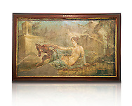 1 cent AD Roman Erotic fresco depicting Pan and Hermaphrodite, Pompeii (VI, 9, 6,) Casa die Dioscuri, inv 27700, 1-50 AD, Naples Archaological Museum, Italy .<br /> <br /> If you prefer to buy from our ALAMY PHOTO LIBRARY  Collection visit : https://www.alamy.com/portfolio/paul-williams-funkystock - Scroll down and type - Roman Art Erotic  - into LOWER search box. {TIP - Refine search by adding a background colour as well}.<br /> <br /> Visit our ROMAN ART & HISTORIC SITES PHOTO COLLECTIONS for more photos to download or buy as wall art prints https://funkystock.photoshelter.com/gallery-collection/The-Romans-Art-Artefacts-Antiquities-Historic-Sites-Pictures-Images/C0000r2uLJJo9_s0