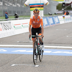 27-09-2020: wielrennen: WK weg mannen: Imola <br /> Antwan Tolhoek27-09-2020: wielrennen: WK weg mannen: Imola<br /> Julian Alaphillipe world champion road in Imola Italy. 2nd Wout van Aert (Belgium) and 3th Mark Hirschi (Switserland)