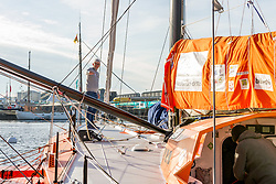 French skipper Vincent Riou onboard his Class Imoca monohull PRB flanked by WWF on the St Malo Harbour before the departure of the Route du Rhum 2018, on November 3, 2018. Photo by Arnaud Masson/ABACAPRESS.COM