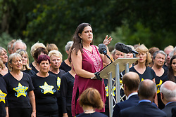 Hyde Park, London, July 7th 2015. Families of the victims and survivors of the 7/7 bombings in London gather at Hyde Park and are joined by the Duke of Cambridge Prince William at an emotional service commemorqating the Islamist terrorist bombing outrage that happened on London's transport network, claiming 57 lives and left scores of people injured. PICTURED: Esther Hyman, sister of Miriam who perished on 7/7 addresses the gathering.